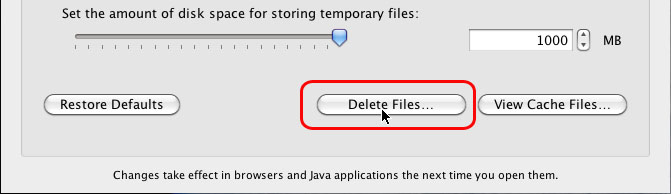 Screenshot of the Java preferences