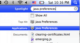 Screenshot of the spotlight tool, and search for Java Preferences